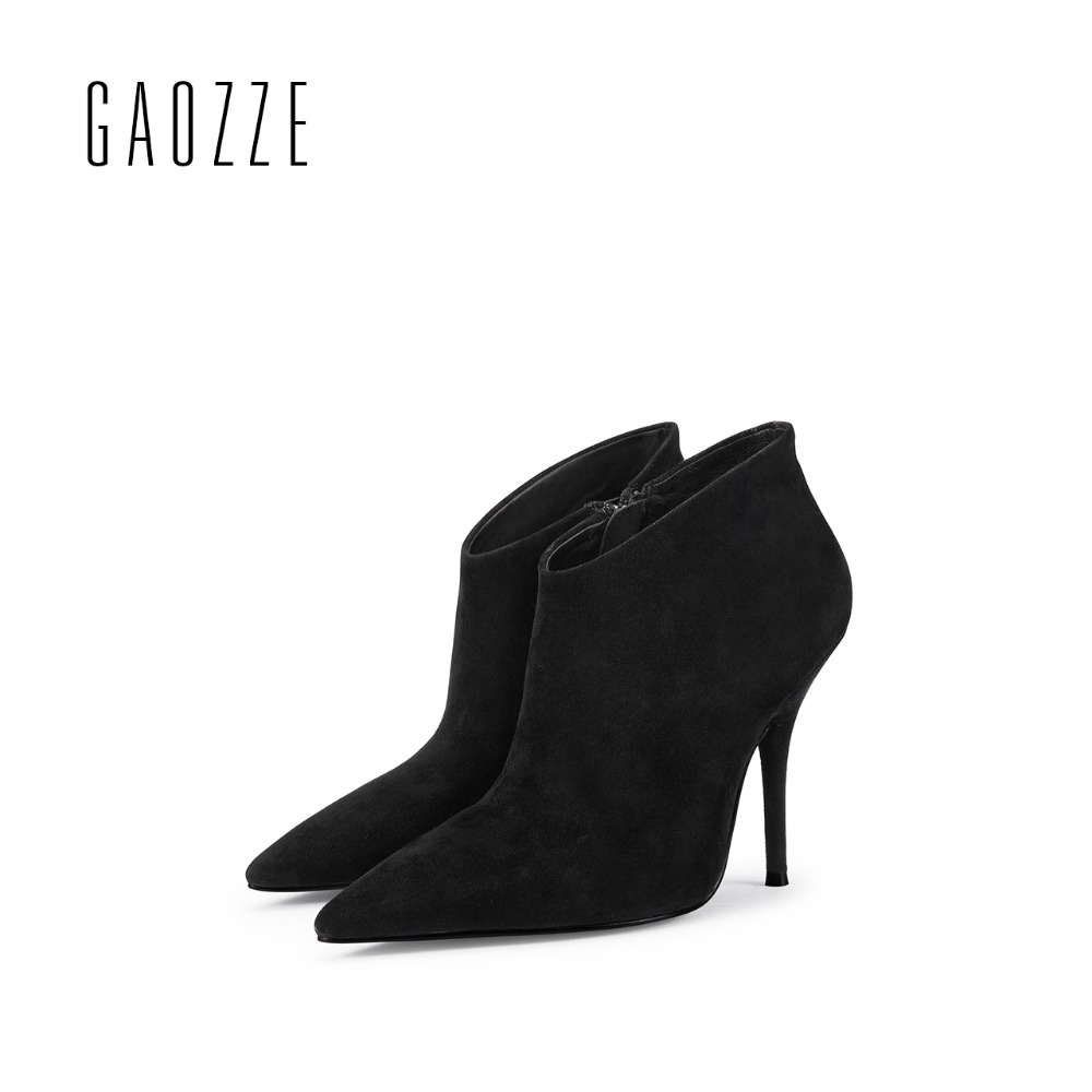 GAOZZE black women genuine leather boots side zipper ankle boots for women pointed toe sexy thin high heel women boots 2017 new стоимость