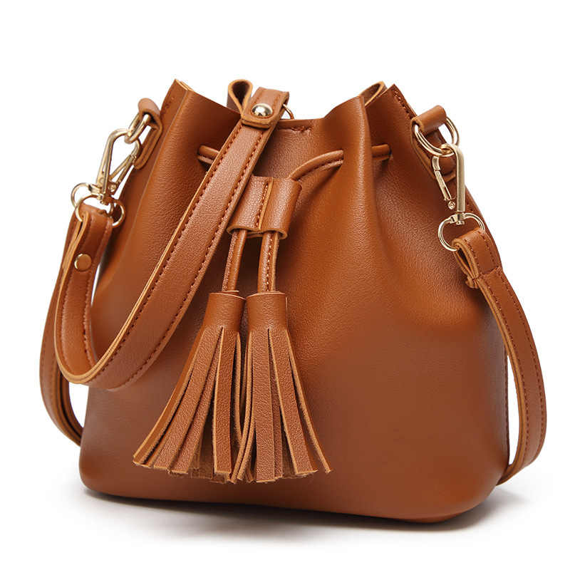 2019 bolsos de cuero de imitación para mujer, bolsos de hombro, borla negra para mujer, de cuero PU, mini bandolera con cordón y bandolera YG274
