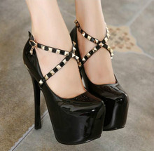 Fine with 16cm super-high heels The new nightclubs wind shoes autumn shoes Cross-strap high-heeled shoes