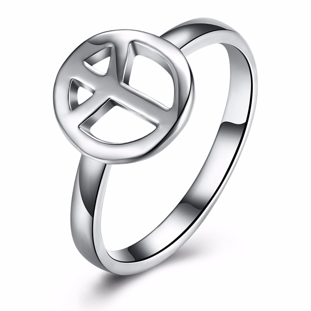High-quality 925 solid silver plated Classical Round Shape Finger Ring Peace Love For Women Jewelry Fashion Ring anillos