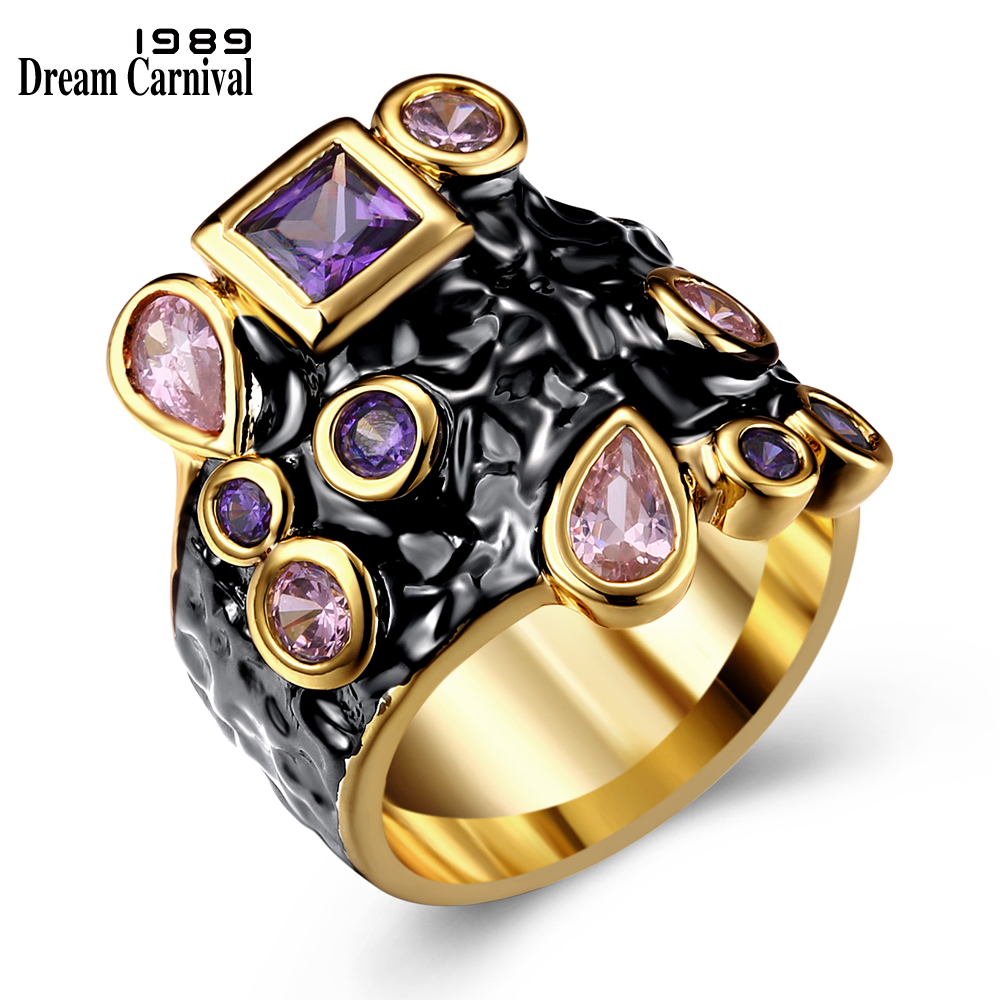 DreamCarnival 1989 Purple Pink CZ Cocktail Ring for Women Gothic Vintage Anniversary Jewelry Black Gold Color anillos mujer Anel