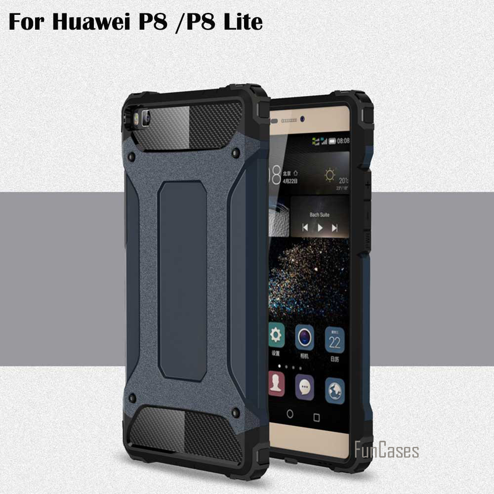 New For Huawei P8 Lite P8 Case Shockproof Cover Soft TPU Silicone + PC Diamond Armor Def ...