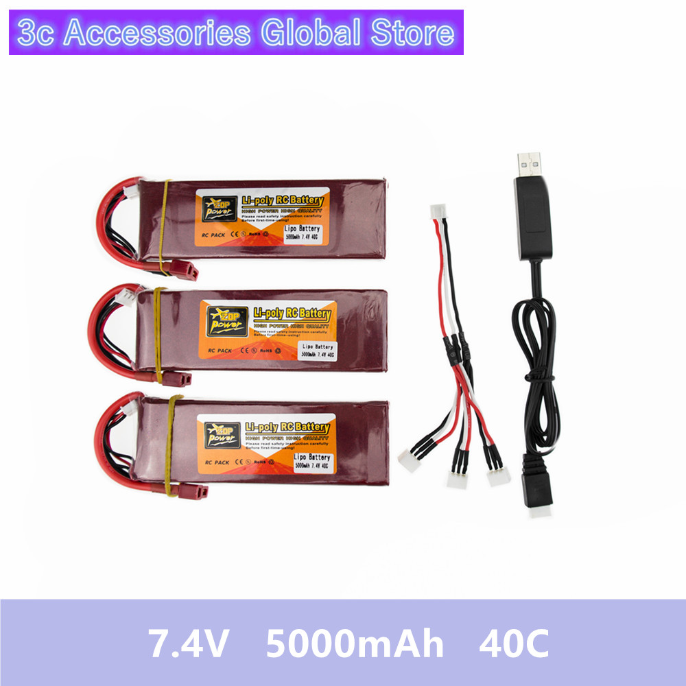 Lipo battery 7.4V 5000mAh 40C ZOP Batteies T XT60 and USB charger suit for rc Quadcopter Airplane drone Spare Parts wholesale