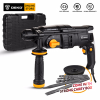 DEKO GJ180 220V 26mm AC Electric Rotary Hammer with 5pcs Accessories BMC Box Four Functions Impact Power Drill for Woodworking
