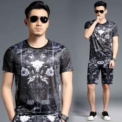 Европейский стиль Темный цветочный узор 3D печать Роскошная футболка и шорты костюм Лето 2018 качество мягкий удобный спортивный костюм для