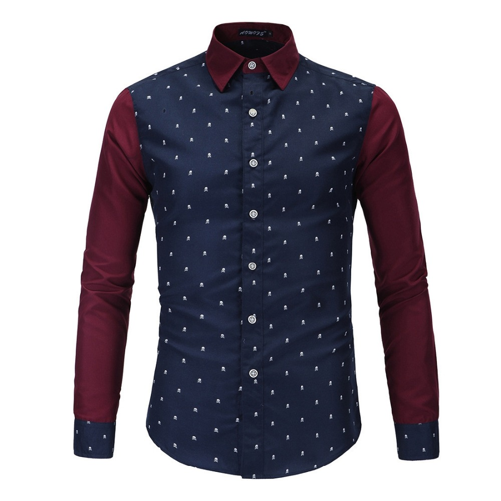 Brand New Fashion Skull Print font b Men s b font Casual font b Shirt b