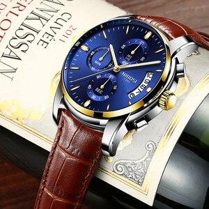 Image 1 - Moda męski zegarek biznesowy NIBOSI marka Sport zegarki kwarcowe wodoodporne zegarki skórzany pasek dla biznesu Relogio Masculino