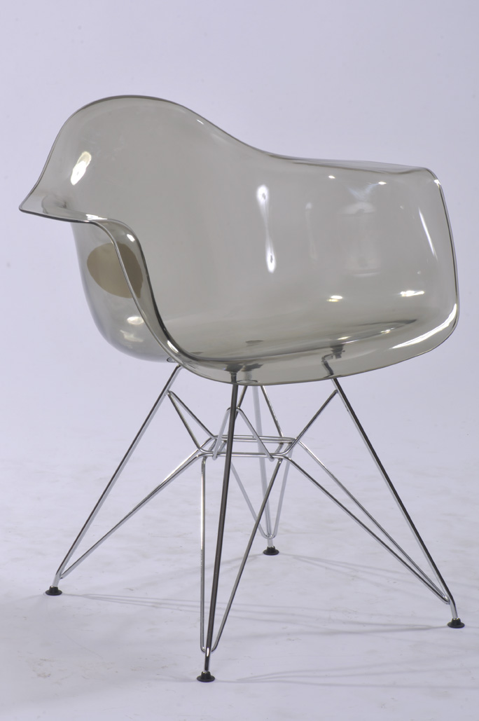 Transparent Clear Acrylic Modern Dining Armchair / Plastic And Metal Steel  Leg Dining Chair/modern