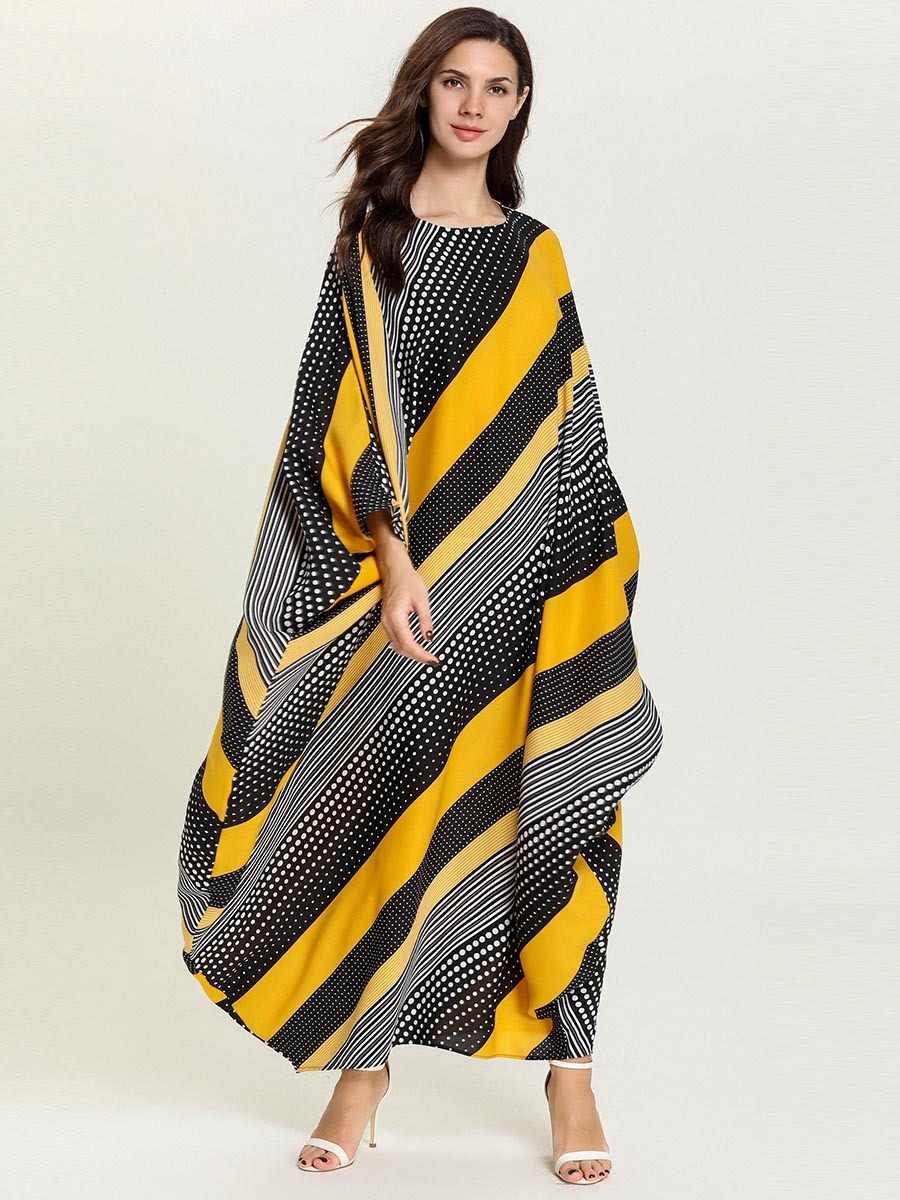 Свободные рукава летучая мышь Макси женские мусульманские платья Дубай abaya Femme кимоно кафтан Арабский исламский халат Полосатое Платье с принтом VKDR1692