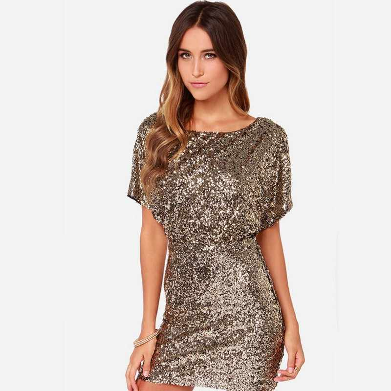 ... Women Paillette party dresses Sequin Bodycon Dress Mini Sexy Ladies  Backless Night Club Gold dress with ... 797370be3fa0