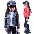Куртка девушки дети PU пальто для весеннего сезона моды короткий стиль искусственная кожа куртка дети вскользь кожаные куртки 5-13 Y