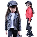 Jacket girl kids PU coat for spring season fashion short style artificial leather jacket children casual leather jackets 5-13 Y
