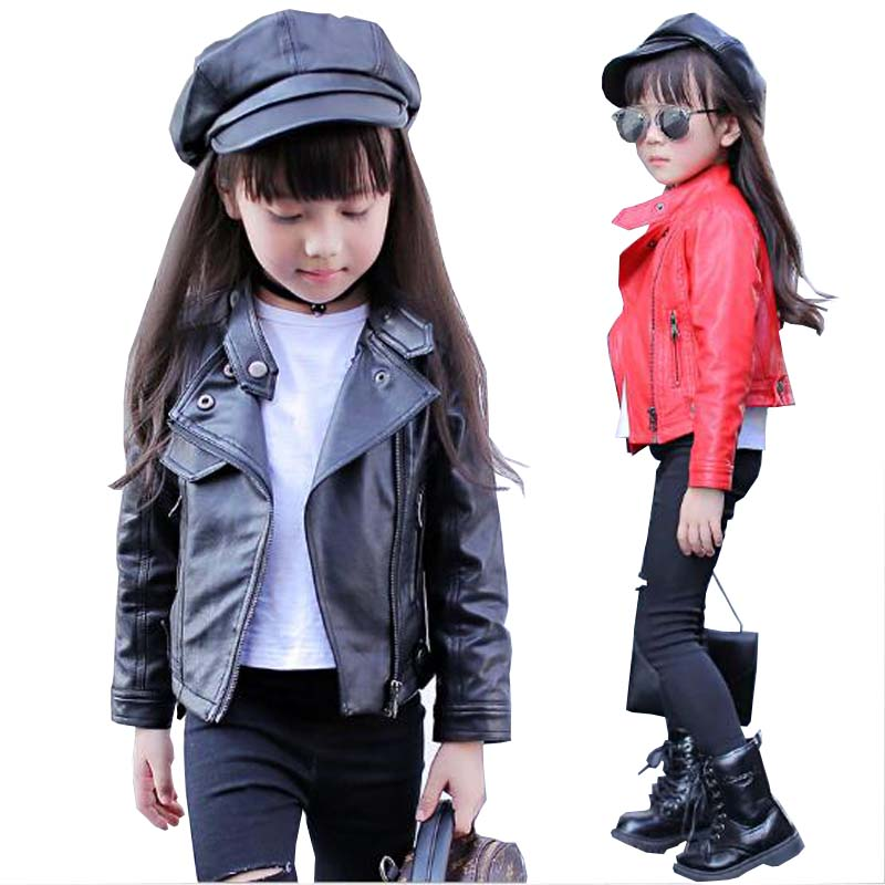 girls clothes kids spring autumn PU leather jacket girls artificial leather jacket children casual leather jacket 4-13 Y outwear