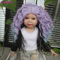 New Arrival High Quality High Temperature Fiber Purple Ombre Hair Wig for 18 inch American Dolls
