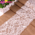 high quality 30cm*275cm Vintage White Christmas Lace Jute Table Runner Hessian Burlap Party Supplies Wedding Decoration AA8208