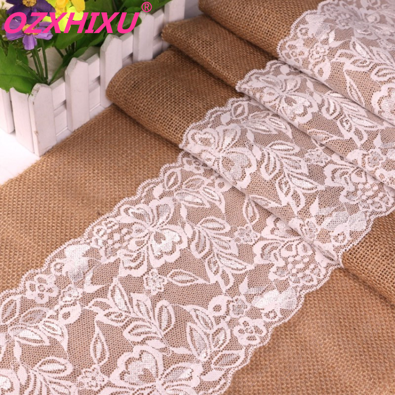 high quality 30cm*275cm Vintage White Christmas Lace Jute Table Runner Hessian Burlap Party Supplies Wedding Decoration AA8208(China)