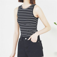 Summer Cotton Striped Comfortable Tops Casual Women Slim Sexy Cropped Fashion Tank Top Sleeveless Bottoming Crop