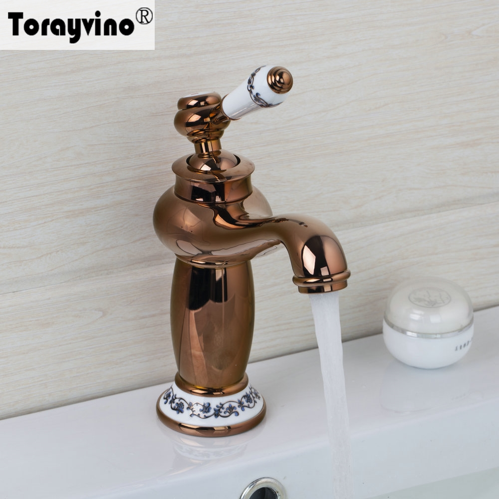 Torayvino Contemporary Rose Golden Ceramic Basin Faucet Single Handle Single Hole Deck Mounted Hot Cold Water Basin Faucet micoe hot and cold water basin faucet mixer single handle single hole modern style chrome tap square multi function m hc203