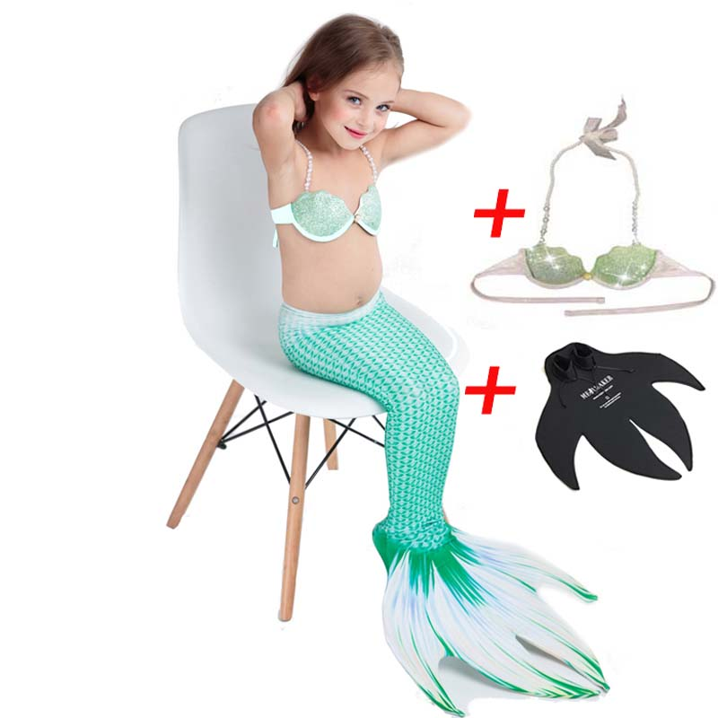 3PCS Girls Kids Ariel Swimsuit Swimmable Mermaid Tail With Monofin Fin Costumes for Children Swimming Mermaid