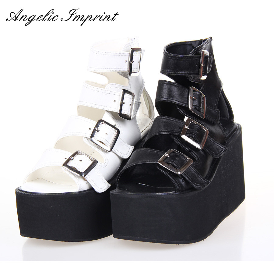 Women Punk Rock Thick Platform Sandals Wedge Shoes Lolita Open Toe Gladiator Sandals Boots BLACK/WHITE nayiduyun women casual shoes low top platform wedge high heels boots round toe slip on pumps punk chic shoes black white sneaker