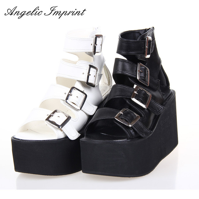 9b7c3a61d2f Women Punk Rock Thick Platform Sandals Wedge Shoes Lolita Open Toe Gladiator  Sandals Boots BLACK WHITE