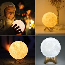 3D Print Moon lamp Moon light USB LED Rechargeable Touch Sensor Table Desk lamp Creative Night light Decor