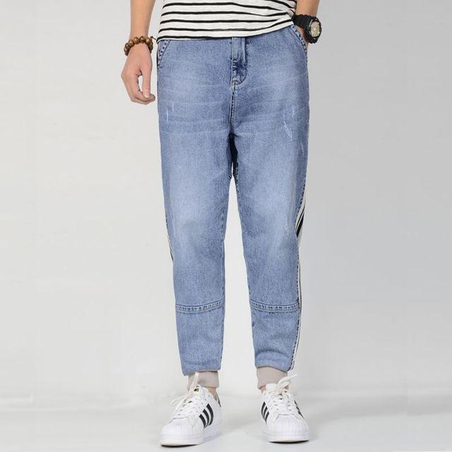 2019 New Summer Denim Jeans Jogger For Men zipper Light Blue Loose Baggy Plus Size Side stripe Harem Jeans Men Tapered Pants
