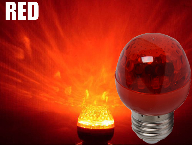 2017 Hot E27 AC85 265V RGB Red Blue Green 1w LED Crystal Stage Light Auto Rotating Lamp Laser Disco DJ Party Holiday Dance bulb in LED Spotlights from Lights Lighting