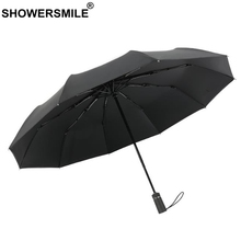 SHOWERSMILE Sunny And Rainy Umbrella 10 Ribs Men Windproof 3 Folding Automatic For Black Uv Protection Parasol
