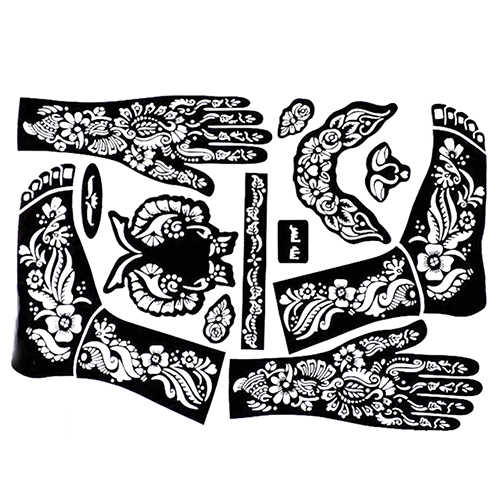10pcs/lot Tattoo Templates Hands/Feet Henna Tattoo Stencils for Airbrushing  Mehndi Body Painting