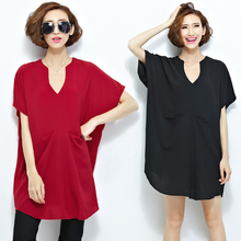 HOT 2016 New Women Summer Ladies Casual V Neck Blouses Loose Shirts Solid Fluid Systems SHORT Sleeve blusas y camisas mujer