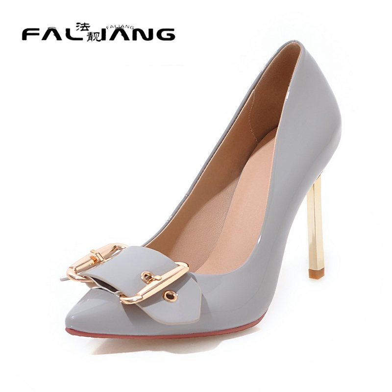 ФОТО Big Size 11 12 Spring/Autumn Elegant Metal Decoration Casual Thin Heels Women's Shoes Extreme High Heels Pumps Woman For Women