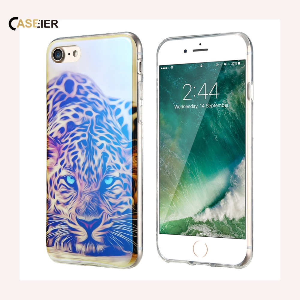 CASEIER Fashion Blue Ray Light Silicone Case For iPhone 6 6s Plus 7 7 Plus 5 5s SE Lovely Beautiful <font><b>Picture</b></font> Printed Back Cover