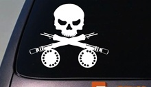 Car Styling for FLY FISHING ROD SKULL BAIT FLY STREAM MOUNTAINS TROUT SALMON BASS CRAPPIE WADERS Car Sticker