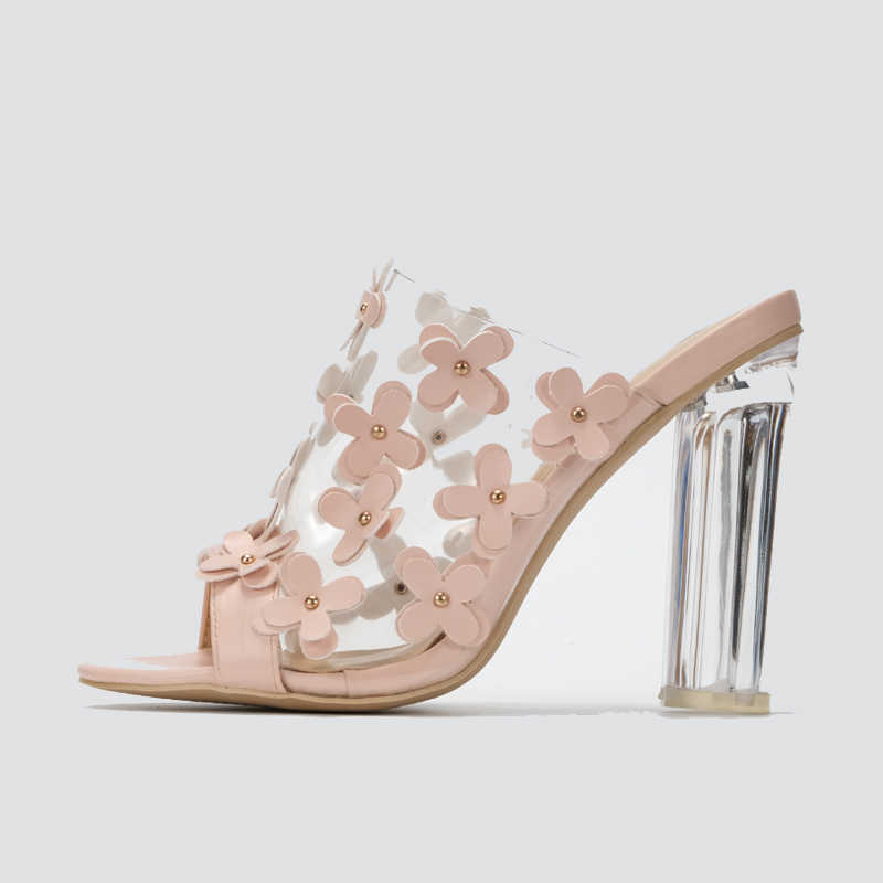 a42971f3a91 Vicamelia Newset Transparent High Heel Sandals With Small Flower Ladies  Clear Sandals Shoes Women Open Toe Summer Slippers 560