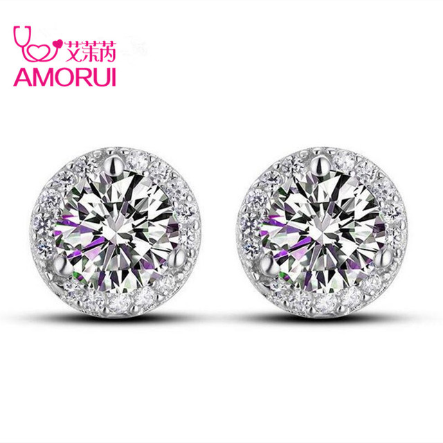 AMORUI Silver Plated 4 Prongs Round Brilliant Cut Sona 1 Carat Created CZ Stone Stud Earring for Women Earings Fashion Jewelry