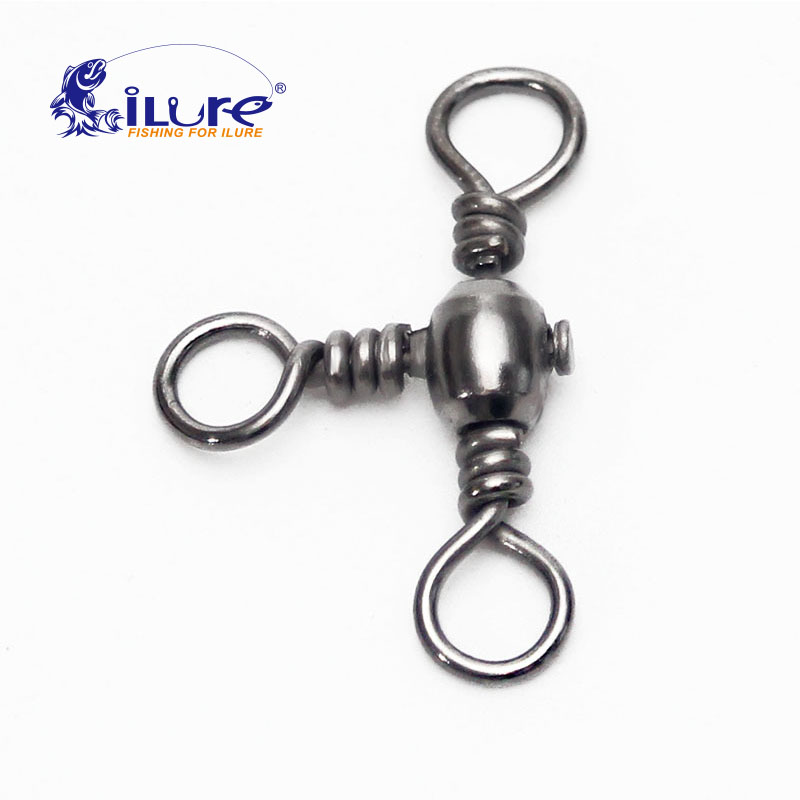 ILure 20 Pcs/lot Fishing Rolling Stainless Steel Barrel Triple Swivels Connector Solid Ring Pesca Fishing Tackle Accessories