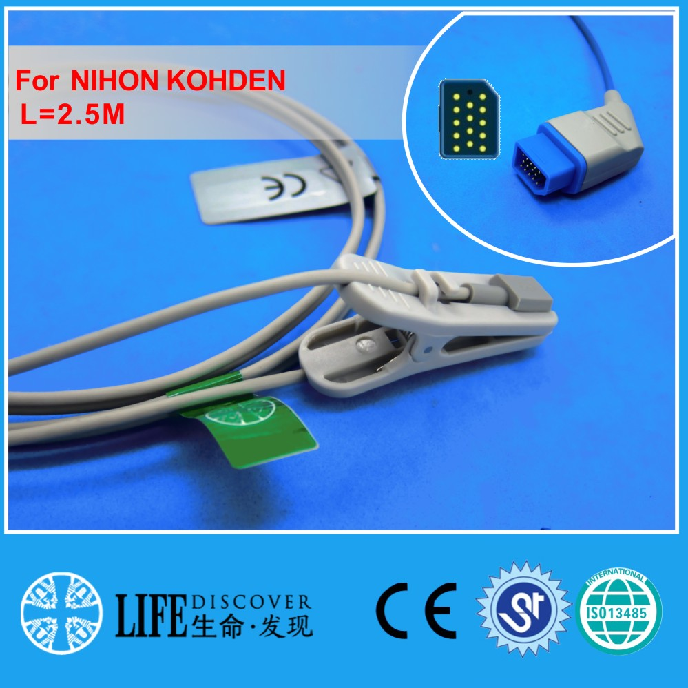 Long cable adult ear clip spo2 oxygen sensor for NIHON KOHDEN patient monitor ...