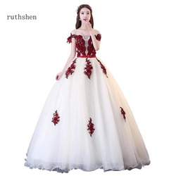 ruthshen 2018 Quinceanera Dresses Boat Neck Appliques Ball Gown Prom Dress  Sweet 15 Teens Formal Masquerade Party Dress 2018 33b433338f02