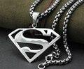 Alta Calidad Superman Collar Rolo Cadena de Caja de Plata del Acero Inoxidable Colgante de Los Hombres Libres 22''