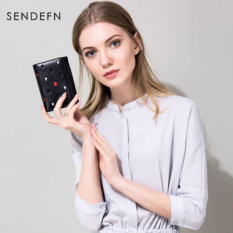 Krótkie portfele damskie młoda dama skórzana torebka 2018 nowy SENDEFN Gril mały portfel kobiet portmonetki dla posiadacza karty czarny