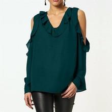 Summer 2019 Women T Shirts Blusas New Vintage Green Chiffon Black T-Shirt Office Solid Red V-neck Ruffles Plus Size