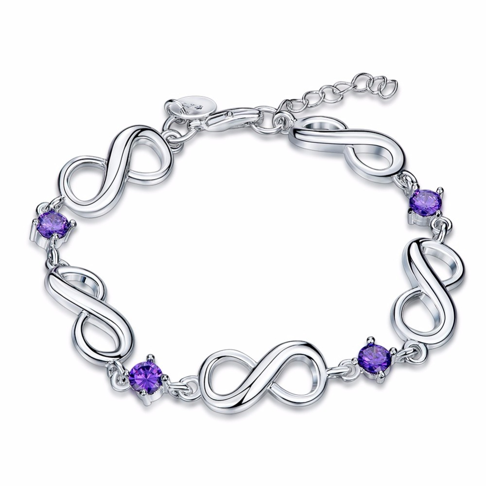 New Fashion Silver Color red/Purple zircon Lucky Numbers 8 Infinity Sign Bracelet & Bangle Charm bracelets Jewelry For Women