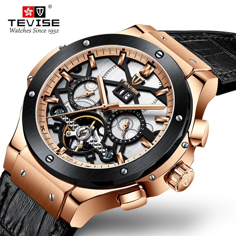 TEVISE Men Watch Mechanical Tourbillon Luxury Fashion Brand Leather Man Sport Watches Mens Automatic Watch Relogio MasculinoTEVISE Men Watch Mechanical Tourbillon Luxury Fashion Brand Leather Man Sport Watches Mens Automatic Watch Relogio Masculino