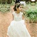 Miel Qiao Blanco de Encaje de Flores Vestidos de Las Muchachas 2016 Joya Sash Primera Comunión Vestidos de Marfil Una línea de Vestido Formal de Los Niños