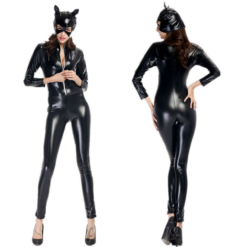 2017 sexy wetlook catsuit faux leather goth punk clubwear black bodysuits catwoman catsuit halloween costume fancy - Halloween Punk Costume