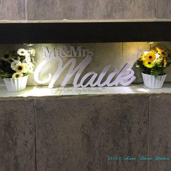 Заказ большой мистер и миссис фамилия свадьба знак Mr & Mrs фамилия таблице знак Свадебный декор >> Love  Decor  Studio