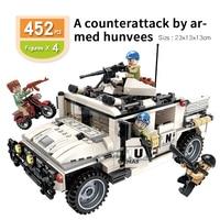 Battle military war humvee jeep hummer UN PKF Match With famous brand DIY building Bricks blocks children toys Birthday gift