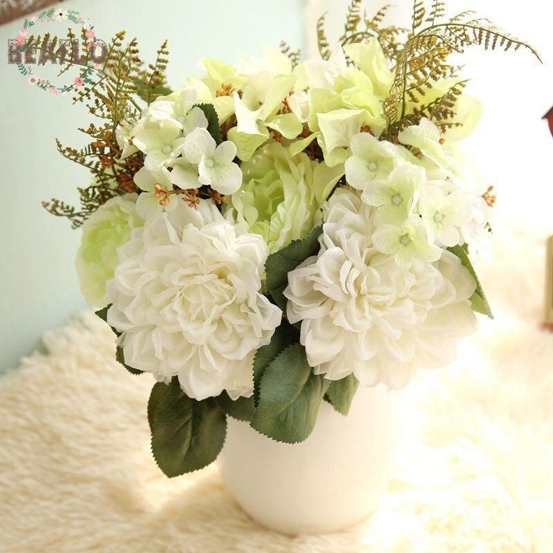 1 пучок Искусственные цветы поддельные Роза, Георгин гортензия букет Свадебный праздник Декор дома 3 цвета