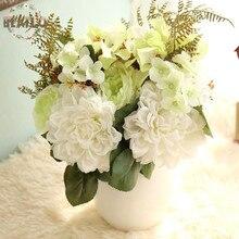 1Bunch Artifical Flowers Fake Rose Dahlia Hydrangea Bouquet Wedding Party Home Decorative 3 Colors